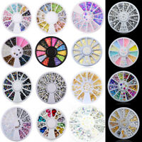 Lots Style 3D Nail Art Glitter Rhinestone Acrylic Bead Tips Manicure Decor Wheel