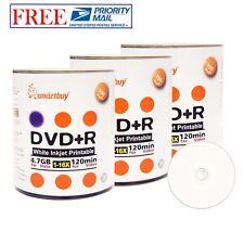 300 PK Smartbuy 16X DVD+R 4.7GB White Inkjet Hub Printable Blank Recordable Disc