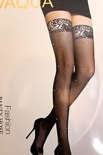 Womens Sexy Thigh High Stockings Fishnet Fencenet Diamante  Ladies Hold Ups