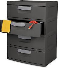 Flat Gray 4 Drawer Unit Heavy-Duty Plastic Garages Basement Utility Storage Box