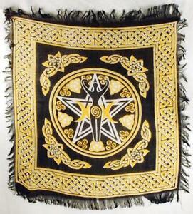 Celtic Pentagram Triple Moon Goddess Altar Tarot Cloth 18 X 18 Pagan Wicca
