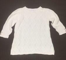 Charter Club Ivory Cotton Blend Sweater Ivory Womens Size Medium 3/4 Sleeve