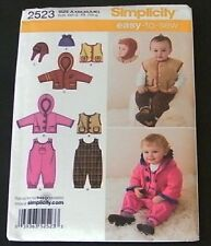 Simplicity Sewing Patterns 2523 Easy To Sew Baby Overalls Jacket Vest Hats