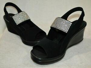 Skechers Women's Rumblers Sparkle On Black Wedge Sandals - Size 7/8/9/10 NWB