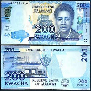 Billet MALAWI 200 Kwacha Crisp XF/AU Banknote (2012) P-60a Prefix AE