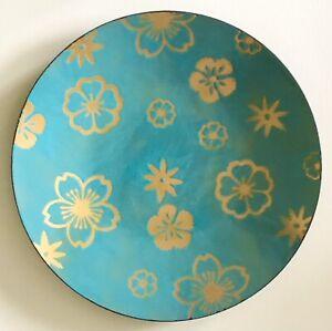 Vintage Mid Century Modern Signed Turquoise Blue Flowers Enamel Copper Plate