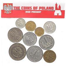 MIXED LOT 10 POLISH COINS POLAND COLLECTIBLE OLD COINS SET 1949 - 2015
