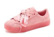 Skechers Street Hi Lites Suede Satin Fat Lace Trainer in Pink UK 5.5