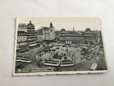 Brussel 1952 Ansichtkaart , Rogierplaats en Noord station , RPPC , Tram