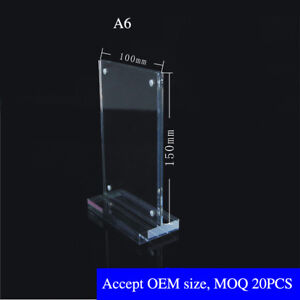 10pcs A6 Vertical acrylic T type Strong Magnetic Close Acrylic Platform sign c