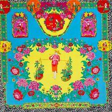 """GIANNI VERSACE velvet fabric panel The Chinese Gardener print yellow 55"""""""