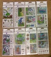 BULK LOT of all 8 Hampton Art color colour me colouring book clear cling stamps