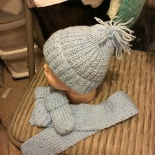 Baby Boys Bobble Cappello sciarpa e muffole blu FATTO A MANO A MAGLIA BAMBINO NUOVI neonato a 6