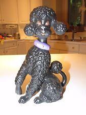 "Vintage Atlantic Mold Large 10"" Ceramic Black Poodle Figurine w/ Purple Collar"