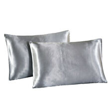 "2x Luxury Soft Grey Silk Pillowcase Case 20x26"" Beauty Care Soft Pillow Cases"