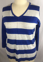 Lane Bryant Blue Gray Striped V-Neck Sweater Top Women's Plus Size 14/16 New