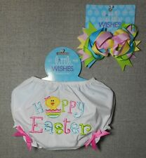 LITTLE WISHES GIRLS EASTER DIAPER COVER SZ 6-12/M WITH HAIR CLIP NEW