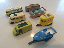 Matchbox Lesney Truck And Trailer Lot Of 7 Boat Horse BP Greyhound Mobile Home
