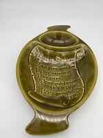 Vintage CALIF. USA Pottery Avocade Green Dish Bowl w/ CHEESE DIP Recipe 9x14.5x2