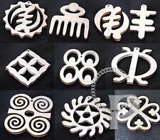 10 charms pendant earring making wooden shapes Africa Adinkra Duafe Sankofa more