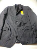 New Stafford Sport Coat Blazer Size 48L Black Classic Fit 2 Button Side Vents