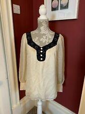 Un original Milly Of New York Diseño Vintage De Blusa De Seda Talla 2