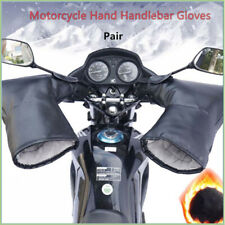 2X Black Motorcycle Handle Bar Mitts Hand Warmer Motorbike Bar Muffs PU Gloves