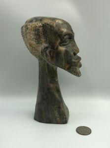 "20th c African 7"" SCULPTURE Zimbabwe SHONA Serpentine Bust of an Old Man w Beard"