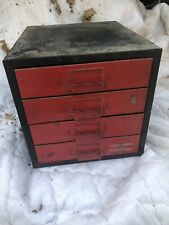 Vintage industrial Metal 4 Drawer Small Parts Cabinet Tool Jewelry Craft Box Old