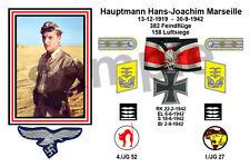 aviation art luftwaffe pilot photo postcard Hans Joachim Marseille colour WW2