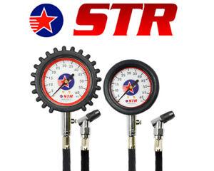 Motorsport Racing Tyre Pressure Gauge 0-60 PSI Swivel Chuck & Bleed Easy Read