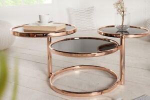 Designer Tavolino da Salotto Rotondo Rame Nero Tavolo Repro Art Deko Nuovo