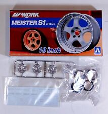 "Aoshima 1/24 Work Meister S1 18"" Wheel Rim & Tire Set  Plastic Models 5299 (21)"