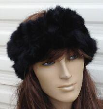 JET BLACK reale vera pelliccia di coniglio pelliccia Orecchio Scalda Cappello Fascia Unisex