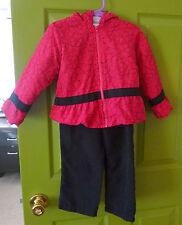 2 Piece Snow Suit. Peplum Style Hoodie  & Black Pants. Pink & Black. Sz.3