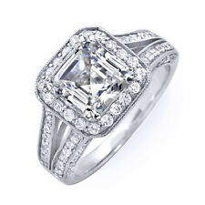 2.96 Ct. Asscher Cut Real Diamond EGL Engagement Ring