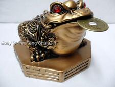 Brass Tone Feng Shui Oriental Chinese Wealth Lucky Money I Chin Coin Frog Toad Q