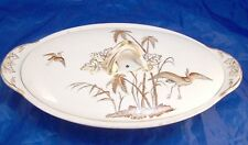 Copeland England 1870s Egret Japanesque Aesthetic Oval Vegetable Bowl with Lid B