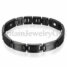 Mens Carbon Fiber Titanium Magnetic Healthy Bracelet with Free Link Removal Tool