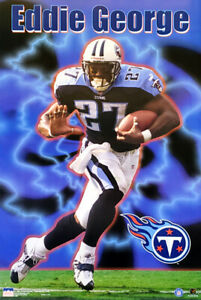 Eddie George ACTION Tennessee Titans 1999 Vintage Starline NFL 22x34 POSTER
