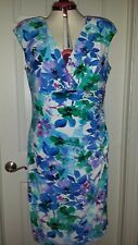 NWT Ralph Lauren Floral Sleeveless Empire Waist Cocktail Dress Size 16