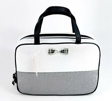 Victoria's Secret Silver Glitter Bow Hanging Travel Case Makeup Cosmetic Bag