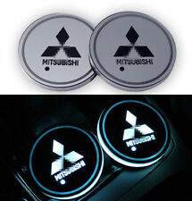 2PCS LED Car Cup Holder Pad Mats Auto Atmosphere Lights Colorful For Mitsubishi