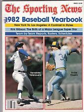 1982 Sporting News Baseball Yearbook Magazine W/Valenzuela & Fingers Cover