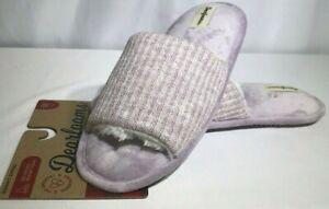 Dearfoams Womens Knit Slide Slipper Open Toe Size 7/8 Frosted Plum Light Purple