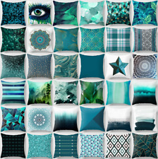 """Cushion COVER Teal Blue Soft 2-Sided Home Decor Abstract Art Pillow Case 18x18"""""""