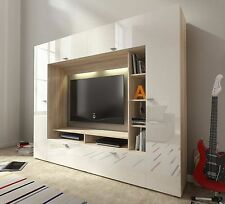 Elegant TV Wall Unit VIGO Modern Set Media Centre ,High Gloss + LED Lights
