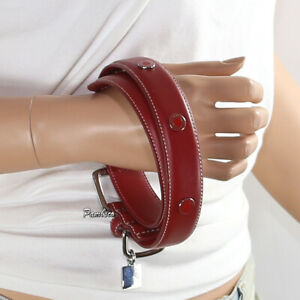 🌺New Coach Leather Circle Studded Charm Dog Pet Animal Collar Large Red 8848