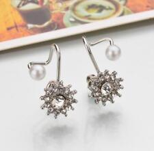 Elegant Women Rhinestone Pearl Ear Clip Non Piercing Ear Stud Earrings Jewelry