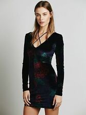 Free People Intimately Navy Red Green Floral Print Velvet Bodycon Mini Dress XS
